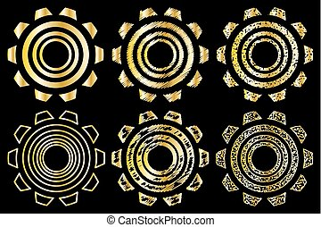Icon gearwheel, Vector golden gears icons set,