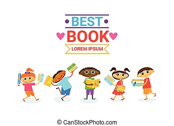 Group Of Kids With Books Reading Cute Children Happy Smiling...