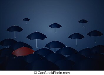 Red Umbrella Standing Out Of Crowd Individuality Concept...