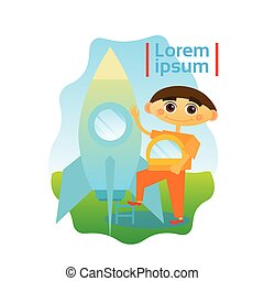 Small Boy Astronaut Sitting In Space Ship Kid Spaceman Flat...