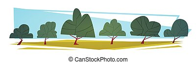 Summer Landscape Green Trees Cartoon Horizontal Banner Flat...