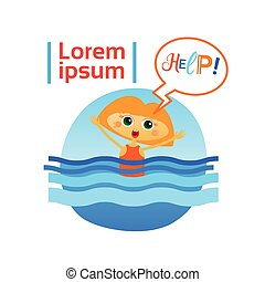 Little Girl Drown In Water Child Need Help Flat Vector...