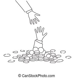Business Hand Helping Businessman From Coin Heap Finance Fail Bankruptcy Crisis Concept