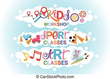 Art Classes For Kids Logo Workshop Creative Artistic School For Children Banner