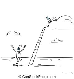 Businessman On Cloud Hold Ladder Stairs To Climb Up Team...
