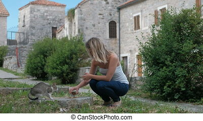 Young woman feeding cat standing outdoor in summer day. She...