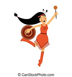 Native american indian girl in traditional costume dancing with tambourine vector Illustration