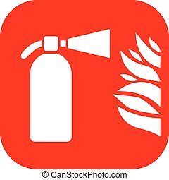 Fire extinguisher sign - Fire extinguisher and flame vector...