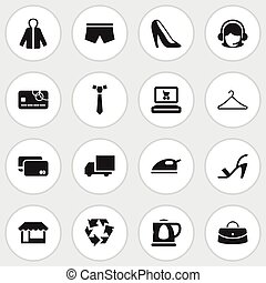 Set Of 16 Editable Shopping Icons. Includes Symbols Such As...