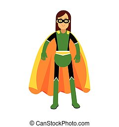 Young masked brunette woman in a colorful superhero costume vector Illustration