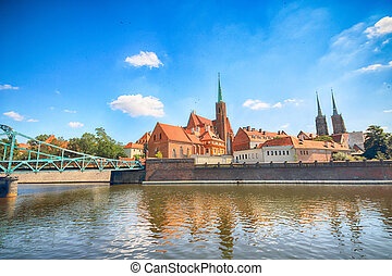 WROCLAW, POLAND - JULY 18, 2017: Wroclaw Old Town. Cathedral...
