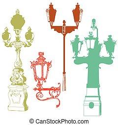 Set of colorful street lanterns