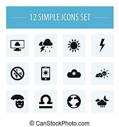 Set Of 12 Editable Climate Icons. Includes Symbols Such As Lightning, Storm, Sun In Display And More. Can Be Used For Web, Mobile, UI And Infographic Design.