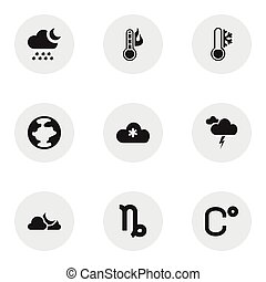 Set Of 9 Editable Air Icons. Includes Symbols Such As Temperature, Goat, Celsius And More. Can Be Used For Web, Mobile, UI And Infographic Design.