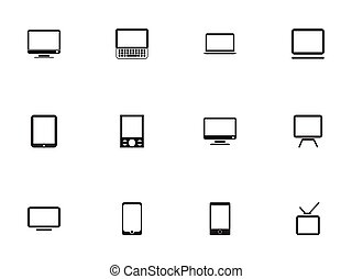 Set Of 12 Editable Instrument Icons. Includes Symbols Such As Television, Computer, Telly And More. Can Be Used For Web, Mobile, UI And Infographic Design.