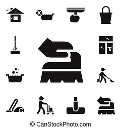 Set Of 12 Editable Cleaning Icons. Includes Symbols Such As Pure Home, Tub, Hoover And More. Can Be Used For Web, Mobile, UI And Infographic Design.