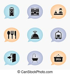 Set Of 9 Editable Hotel Icons. Includes Symbols Such As Service Bell, Check In, Opened Placard And More. Can Be Used For Web, Mobile, UI And Infographic Design.