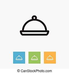Vector Illustration Of Meal Symbol On Salver Outline....