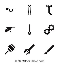 Set Of 9 Editable Equipment Icons. Includes Symbols Such As Skimmer, Key, Excavate And More. Can Be Used For Web, Mobile, UI And Infographic Design.