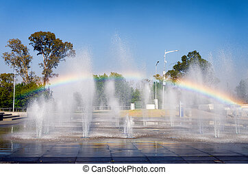 Water fountain with rainbow in Puebla
