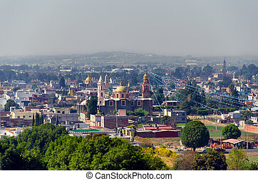 View of City and Cathedrals in Puebla