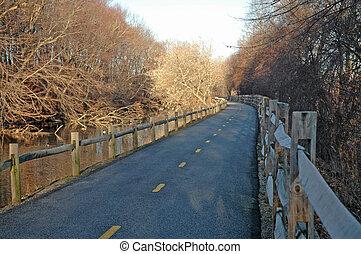 Blackstone River Bikeway along old canal - Blackstone River...
