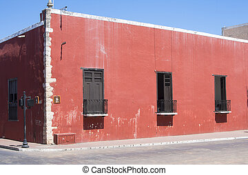 Old colonial street corner in Mexico - Rustic red old...
