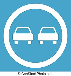 No overtaking road traffic sign icon white isolated on blue...