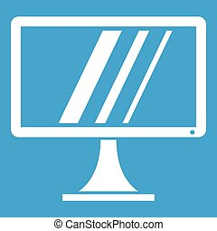 Computer monitor icon white isolated on blue background...