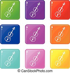 Cello set 9 - Cello icons of 9 color set isolated vector...
