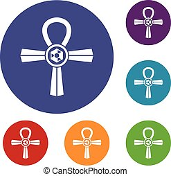 Egypt Ankh symbol icons set in flat circle red, blue and...