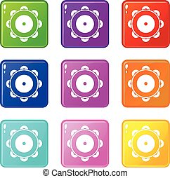 Tambourine set 9 - Tambourine icons of 9 color set isolated...