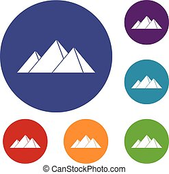 Pyramids in Giza icons set in flat circle red, blue and...