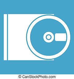 DVD drive open icon white isolated on blue background vector...