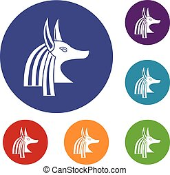 Ancient egyptian god Anubis icons set in flat circle red,...