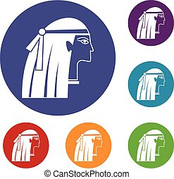 Egyptian girl icons set in flat circle red, blue and green...