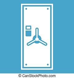 Safe door icon white isolated on blue background vector...