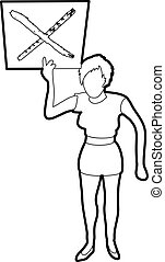 Woman protest with sign icon outline - Woman protest with...