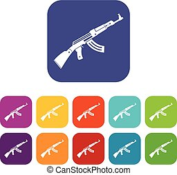 Submachine gun icons set vector illustration in flat style...