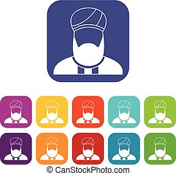 Muslim preacher icons set vector illustration in flat style...