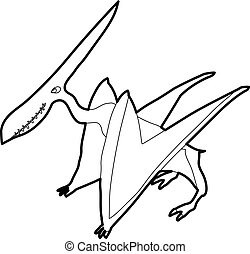 Pterodactyl icon outline - Pterodactyl icon in outline style...