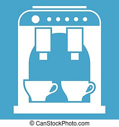 Coffee machine icon white isolated on blue background vector...