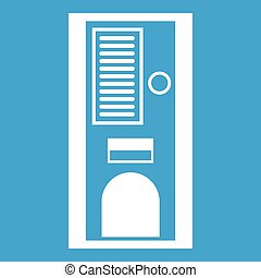 Coffee vending machine icon white isolated on blue...