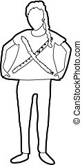 Woman protest icon outline - Woman protest icon in outline...
