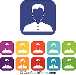 Pastor icons set vector illustration in flat style in colors...