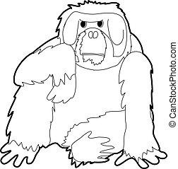 Orangutan icon outline - Orangutan icon in outline style...