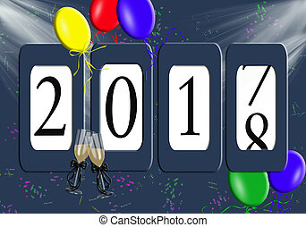 New Year 2018 odometer with balloons - new year 2018...