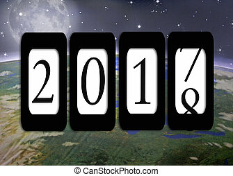 New Year 2018 odometer and outer space - New Year 2018...