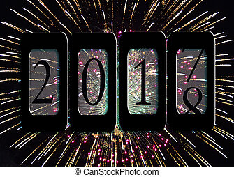 New Year 2018 odometer - new year odometer with fireworks...