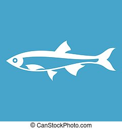Herring fish icon white isolated on blue background vector...
